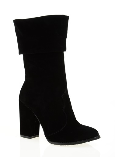 D by Divarese Kalın Topuklu Uzun Süet Bot Siyah